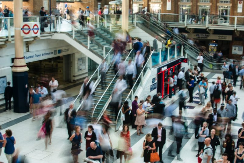 busy shopping centre full of people